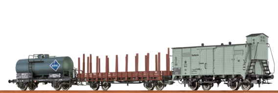 Set of Freight Cars: Refrigerator Car Stake and Tank Car DR (Brit.-US-Zone)