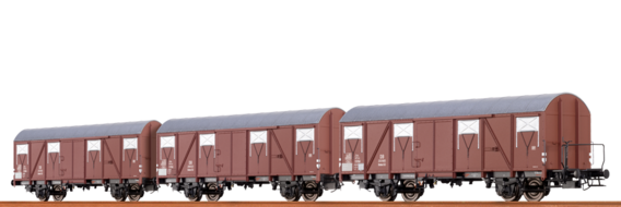 Covered Freight Cars Glmhs 50 DB, set of 3