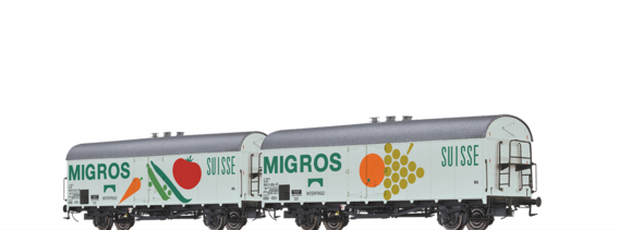 "Kühlwagen Ibs 394 ""INTERFRIGO - MIGROS"" der DB, 2er-Set"
